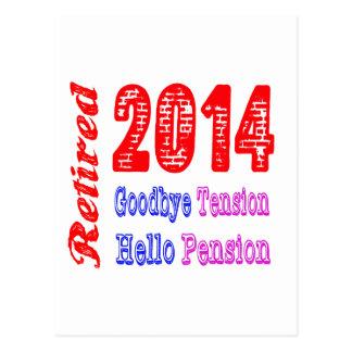 Retiré 2014, au revoir pension de tension bonjour cartes postales