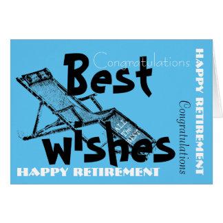 Retraite heureuse avec le rétro bleu 2 de chaise carte de vœux
