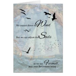 Retraite - thème nautique de navigation carte de vœux