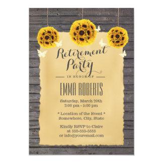 Retraite vintage en bois de grange de papillon et carton d'invitation  12,7 cm x 17,78 cm