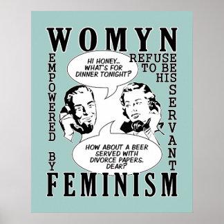 Rétro affiche féministe d'humour