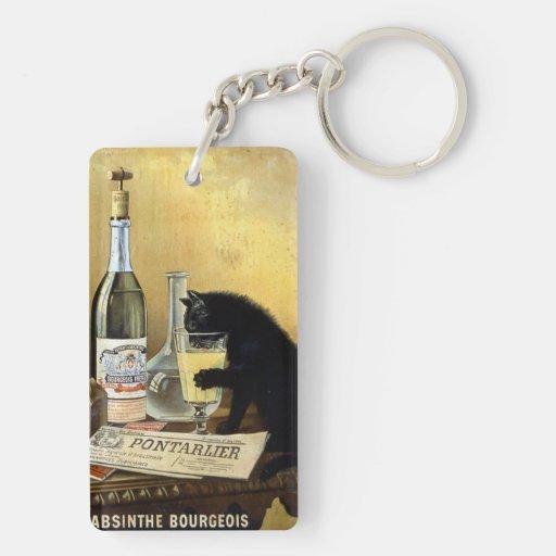 """Rétro affiche française """"bourgeois d'absinthe """" porte-clé rectangulaire en acrylique double face"""