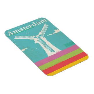 Rétro affiche vintage de voyage d'Amsterdam Magnet Flexible
