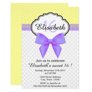 Rétro anniversaire de fille de sweet sixteen de carton d'invitation 8,89 cm x 12,70 cm