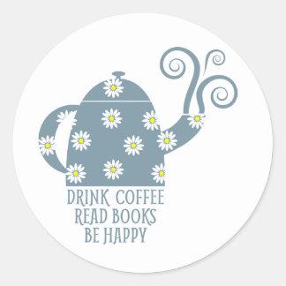 Rétro autocollant : Buvez du café, lisez les