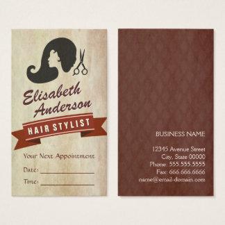 Rétro beauté - rendez-vous de styliste de salon de cartes de visite