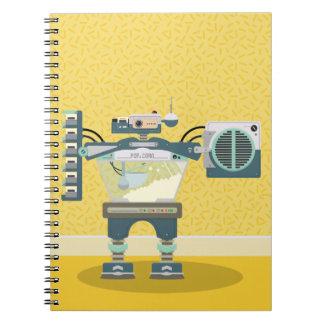 Rétro carnet jaune de robot