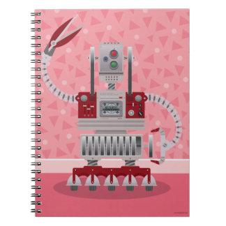 Rétro carnet rose de robot