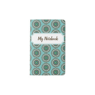 Retro Stylized Teal Flower Notebook with Nameplate