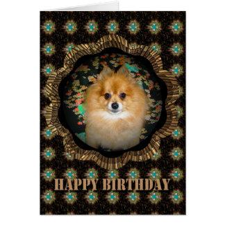 Rétro carte d'anniversaire de Pomeranian