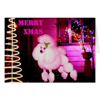 Rétro carte de Noël rose de caniche personnalisée