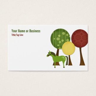 Rétro carte de visite de cheval et d'arbres