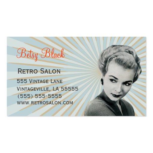 Rétro carte de visite vintage de coiffeur de rayon