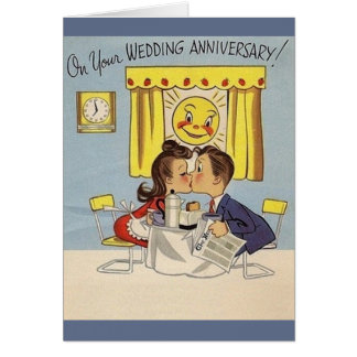 Rétro carte de voeux d'anniversaire de mariage
