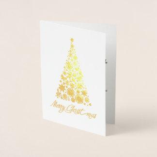 Carte Dorée Rétro carte de voeux d'arbre de Noël de feuille
