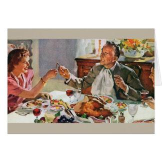Rétro carte de voeux de dîner de thanksgiving