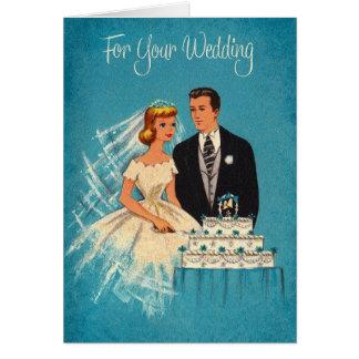 Rétro carte de voeux de mariage