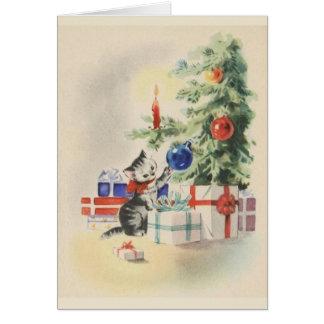 Rétro carte de voeux de Noël de chaton