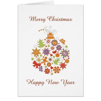 Carte Rétro carte de voeux de Noël d'ornement de Noël