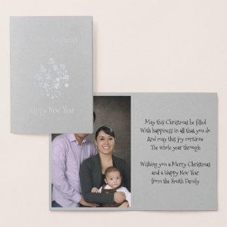 Carte Dorée Rétro carte de voeux d'ornement de Noël de feuille