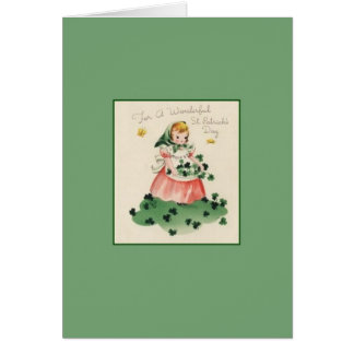Rétro carte de voeux du jour de Patrick de saint