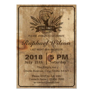 Rétro carte en bois d'enterrement de vie de jeune carton d'invitation  12,7 cm x 17,78 cm