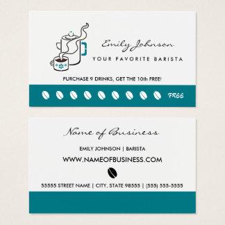 Rétro carte perforée turquoise de fidélité de