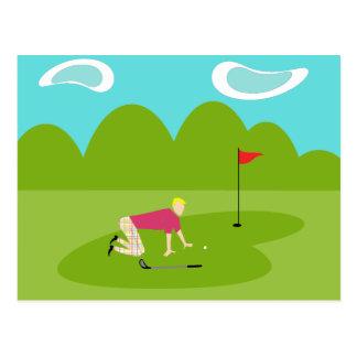 Rétro carte postale de golfeur
