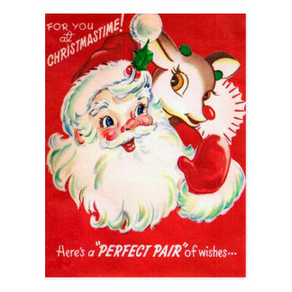 Rétro carte postale de Noël de renne vintage de