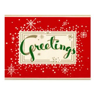 Rétro carte postale de salutations de Noël