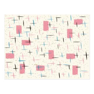 Rétro carte postale rose atomique de motif
