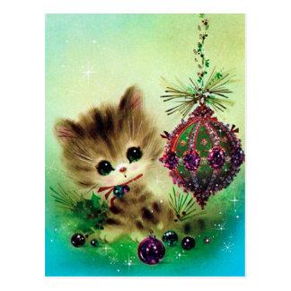 Rétro carte postale vintage de vacances de Noël de