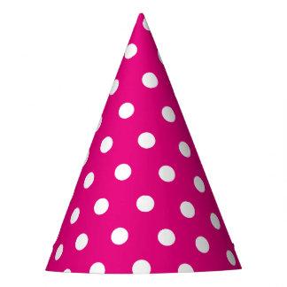 Rétro chapeau rose et blanc de partie de points