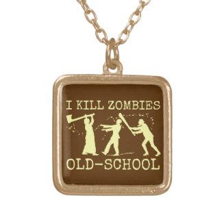 Rétro chasseur drôle de tueur de zombi de vieille collier plaqué or