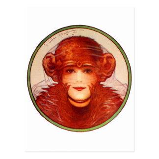 Rétro chimpanzé vintage ou femme d'illusion de cartes postales
