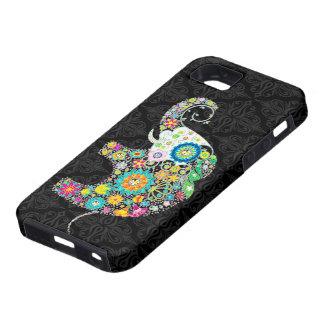 Rétro conception colorée d'éléphant de fleur coque tough iPhone 5
