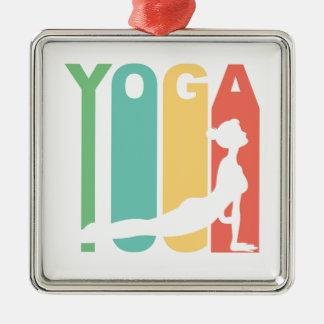 Rétro conception de yoga ornement carré argenté