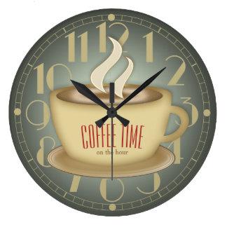 Rétro couleur drôle de coutume de temps de café grande horloge ronde