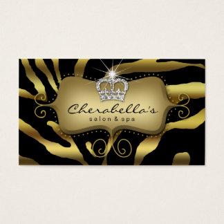 Rétro couronne de zèbre de carte de visite de spa