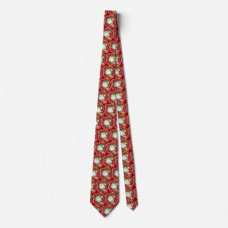 Rétro cravate rouge de bonhomme de neige de plaid,