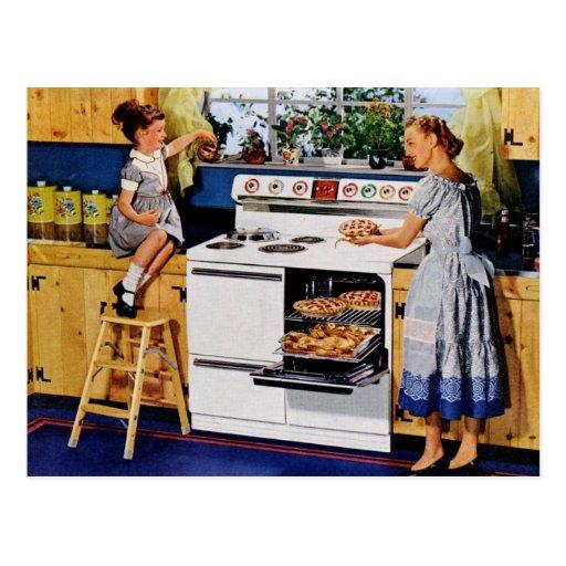 Rétro cuisine Postard de mère/fille Carte Postale