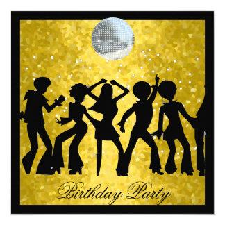 Retro de Partij van de Verjaardag van de jaren '70 13,3x13,3 Vierkante Uitnodiging Kaart
