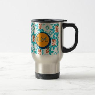Rétro décoré d'un monogramme floral mug de voyage