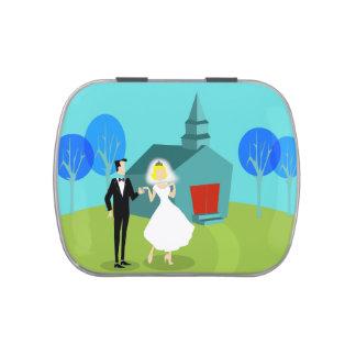 Rétro étain de sucrerie de couples de mariage boite jelly belly