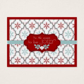 Rétro étiquette de cadeau de flocons de neige cartes de visite