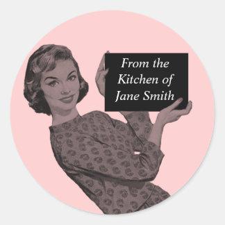 Rétro étiquette de cuisine sticker rond