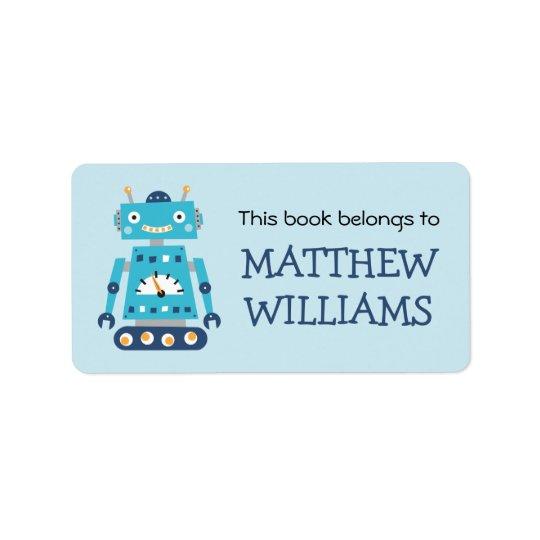 Rétro étiquette de livre d'ex-libris de robot