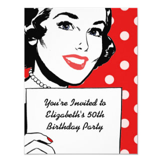Rétro femme avec un anniversaire de signe carton d'invitation 10,79 cm x 13,97 cm