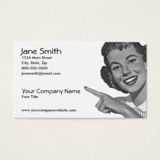 Rétro femme de pointage cartes de visite