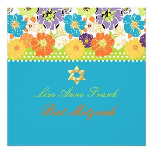 Rétro floral de PixDezines Alegre, bat mitzvah Faire-part Personnalisables